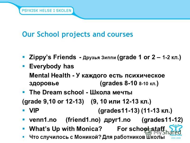 Our School projects and courses Zippys Friends - Друзья Зиппи (grade 1 or 2 – 1-2 кл. ) Everybody has Mental Health - У каждого есть психическое здоровье (grades 8-10 8-10 кл. ) The Dream school - Школа мечты (grade 9,10 or 12-13) (9, 10 или 12-13 кл