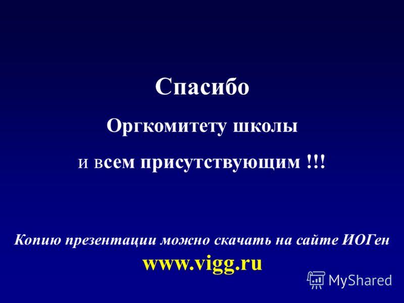 Спасибо Оргкомитету школы и всем присутствующим !!! Копию презентации можно скачать на сайте ИОГен www.vigg.ru