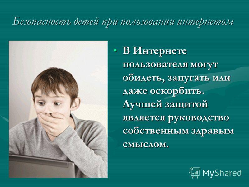 Безопасность детей при пользовании интернетом В Интернете пользователя могут обидеть, запугать или даже оскорбить. Лучшей защитой является руководство собственным здравым смыслом.В Интернете пользователя могут обидеть, запугать или даже оскорбить. Лу