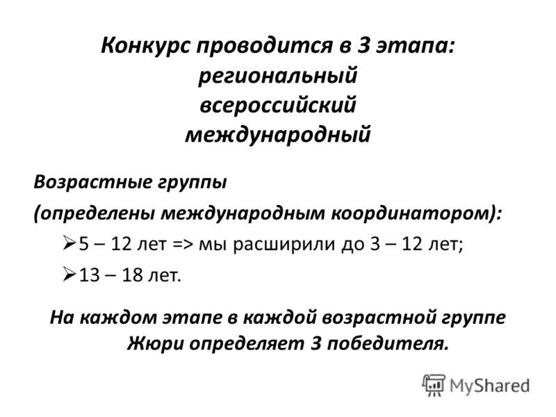 Конкурс проводится в 3 этапа: региональный всероссийский международный Возрастные группы (определены международным координатором): 5 – 12 лет => мы расширили до 3 – 12 лет; 13 – 18 лет. На каждом этапе в каждой возрастной группе Жюри определяет 3 поб