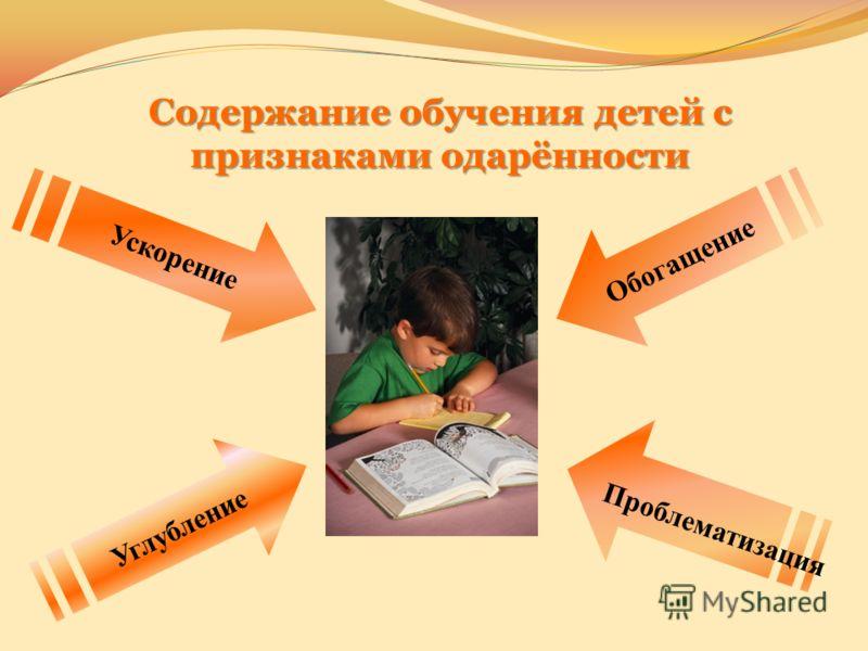 Содержание обучения детей с признаками одарённости Проблематизация Углубление Обогащение Ускорение