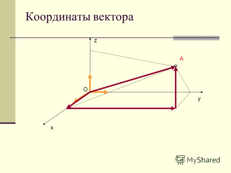 Координаты вектора x y z O A