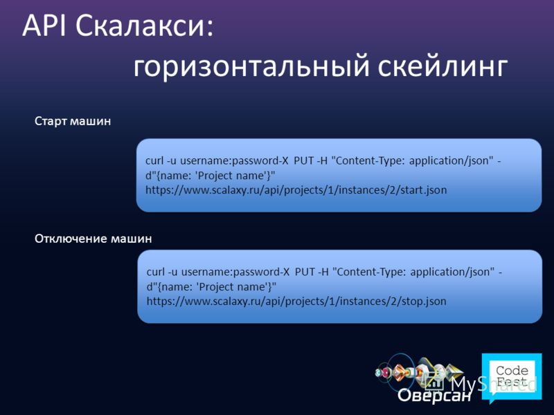 API Скалакси: горизонтальный скейлинг Старт машин curl -u username:password-X PUT -H