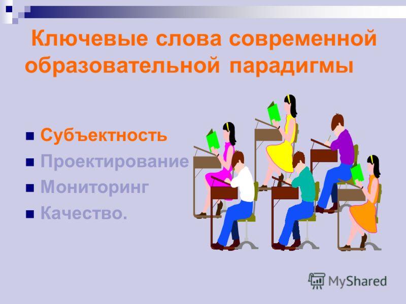 Ключевые слова современной образовательной парадигмы Субъектность Проектирование Мониторинг Качество.