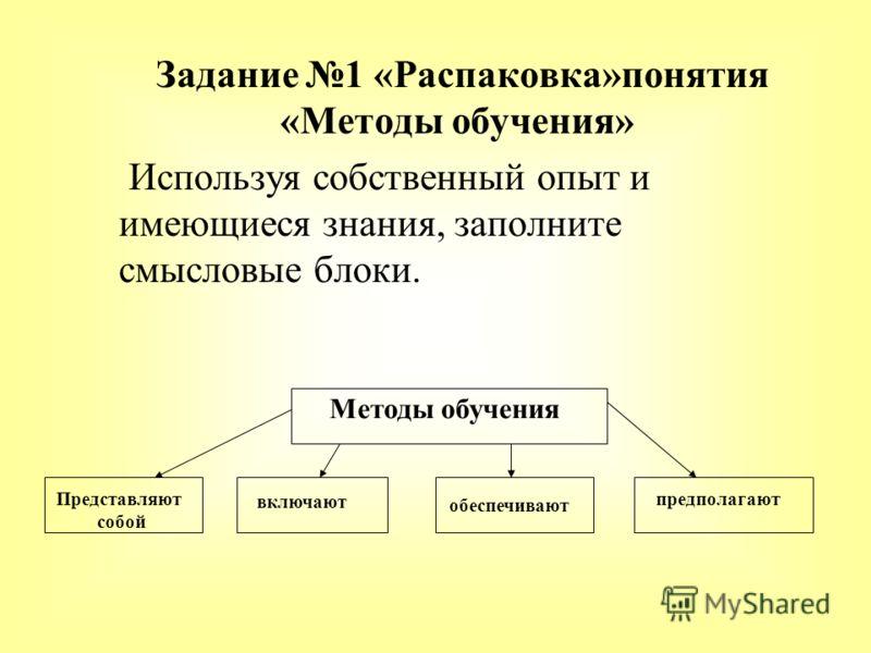 Задание 1 «Распаковка»понятия «Методы обучения» Используя собственный опыт и имеющиеся знания, заполните смысловые блоки. Методы обучения Представляют собой включают обеспечивают предполагают