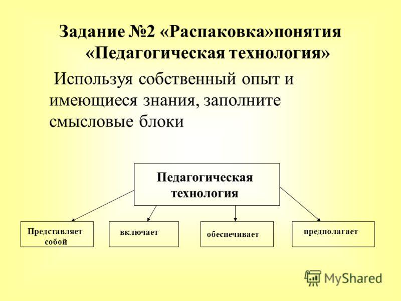 Задание 2 «Распаковка»понятия «Педагогическая технология» Используя собственный опыт и имеющиеся знания, заполните смысловые блоки Педагогическая технология Представляет собой включает обеспечивает предполагает