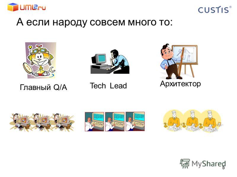 А если народу совсем много то: 5 Tech Lead Главный Q/A Архитектор