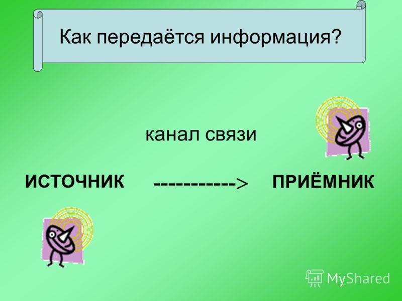 канал связи ИСТОЧНИК ----------- ПРИЁМНИК Как передаётся информация?