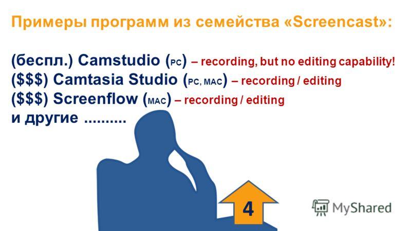 Примеры программ из семейства «Screencast»: (беспл.) Camstudio ( PC ) – recording, but no editing capability! ($$$) Camtasia Studio ( PC, MAC ) – recording / editing ($$$) Screenflow ( MAC ) – recording / editing и другие.......... 4
