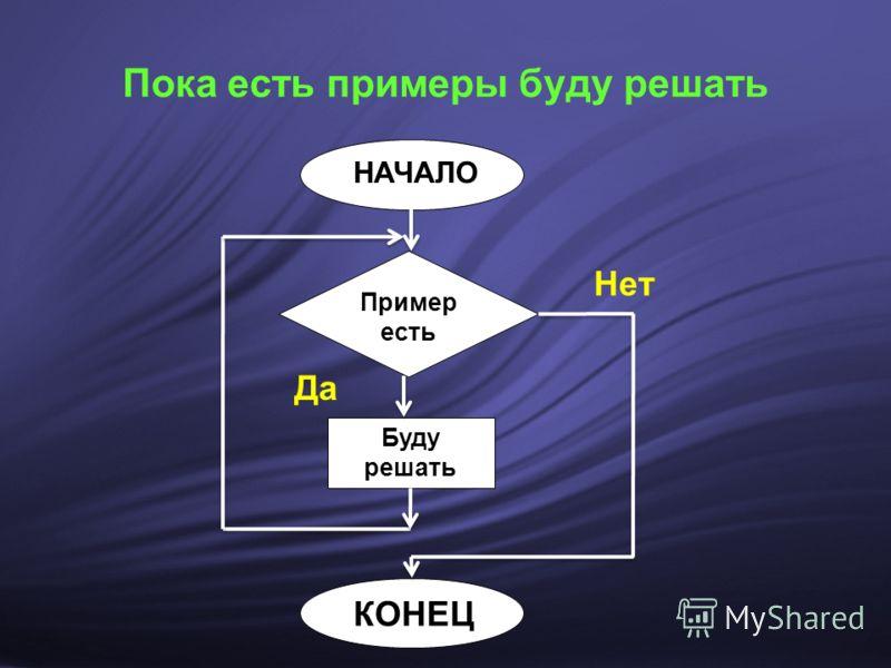 Пока есть примеры буду решать Пример есть Буду решать НАЧАЛО КОНЕЦ Да Нет