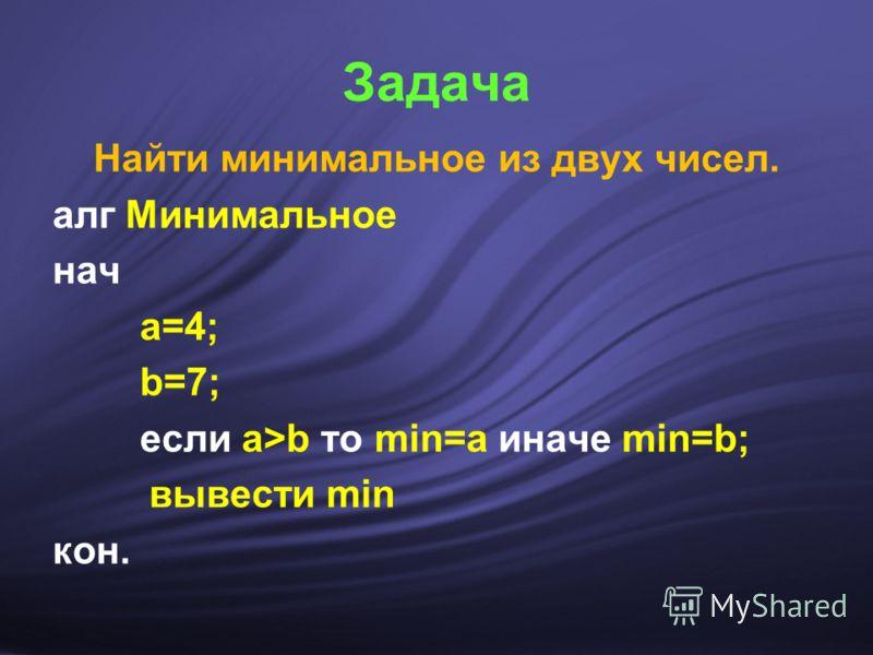 Задача Найти минимальное из двух чисел. алг Минимальное нач а=4; b=7; если а>b то min=a иначе min=b; вывести min кон.