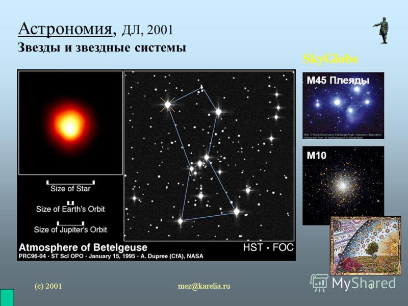 (с) 2001mez@karelia.ru1 Астрономия, ДЛ, 2001 Звезды и звездные системы SkyGlobe М10 М45 Плеяды