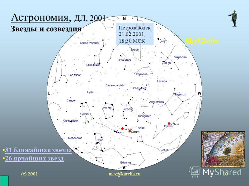 (с) 2001mez@karelia.ru10 Астрономия, ДЛ, 2001 Звезды и созвездия SkyGlobe Петрозаводск 21.02.2001 18:30 МСК 31 ближайшая звезда 26 ярчайших звезд