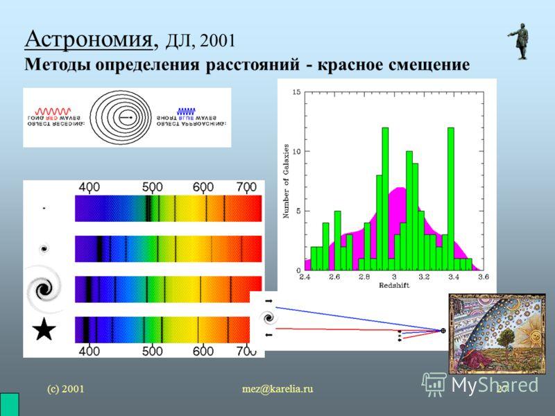 (с) 2001mez@karelia.ru27 Астрономия, ДЛ, 2001 Методы определения расстояний - красное смещение