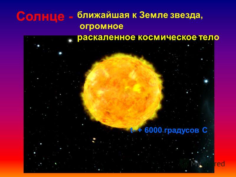 Солнце - ближайшая к Земле звезда, огромное раскаленное космическое тело t- + 6000 градусов С