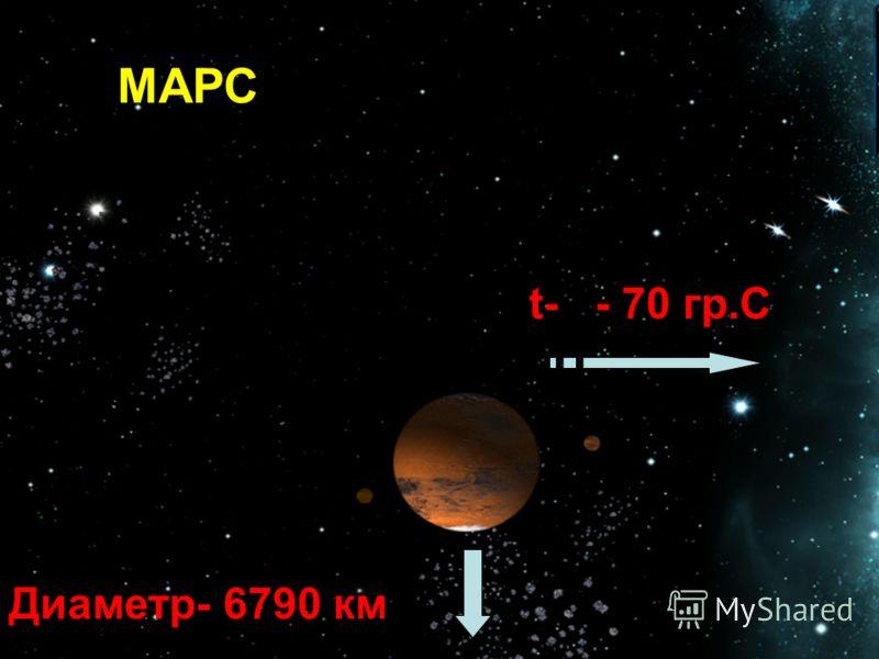 Марс МАРС t- - 70 гр.С Диаметр- 6790 км