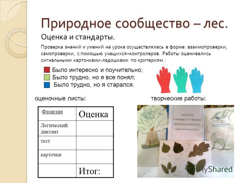 Природное сообщество – лес. Оценка и стандарты. Проверка знаний и умений на уроке осуществлялась в форме : взаимопроверки, самопроверки, с помощью учащихся – контролеров. Работы оценивались сигнальными карточками - ладошками по критериям : Было интер