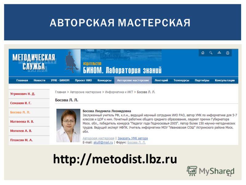 http://metodist.lbz.ru 42 АВТОРСКАЯ МАСТЕРСКАЯ