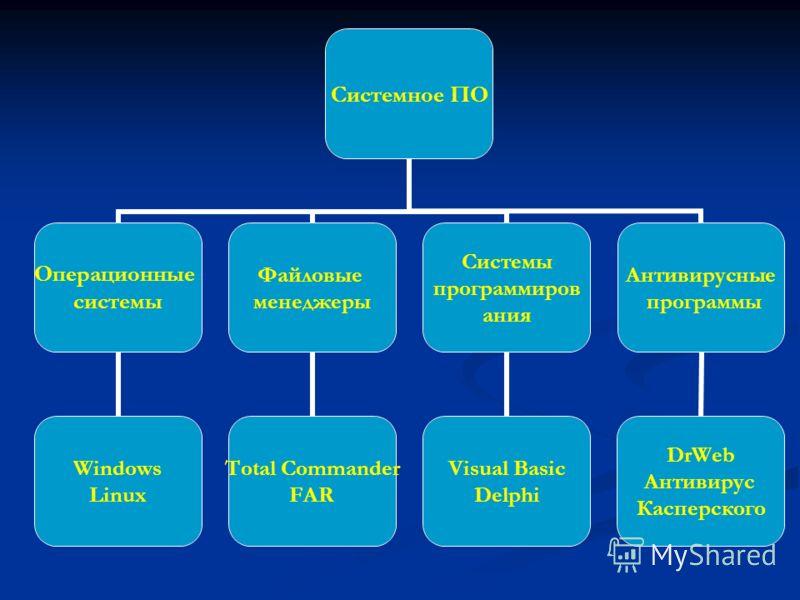 Системное ПО Операционные системы Windows Linux Файловые менеджеры Total Commander FAR Системы программирования Visual Basic Delphi Антивирусные программы DrWeb Антивирус Касперского