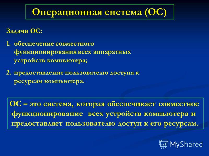 Операционная система (ОС) Задачи ОС: 1.обеспечение совместного функционирования всех аппаратных устройств компьютера; 2.предоставление пользователю доступа к ресурсам компьютера. ОС – это система, которая обеспечивает совместное функционирование всех