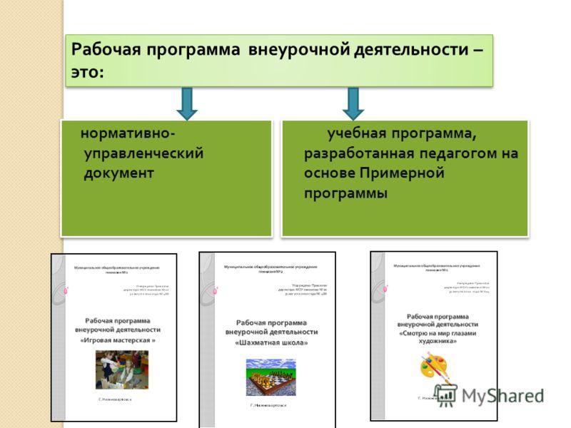 учебная программа, разработанная педагогом на основе Примерной программы нормативно - управленческий документ Рабочая программа внеурочной деятельности – это:
