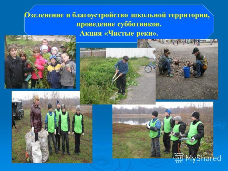 Озеленение и благоустройство школьной территории, проведение субботников. Акция «Чистые реки».