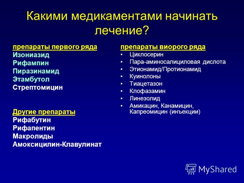 Какими медикаментами начинать лечение? препараты первого ряда Изониазид Рифампин Пиразинамид Этамбутол Стрептомицин Другие препараты Рифабутин Рифапентин Макролиды Амоксицилин-Клавулинат препараты виорого ряда Циклосерин Пара-аминосалициловая дислота