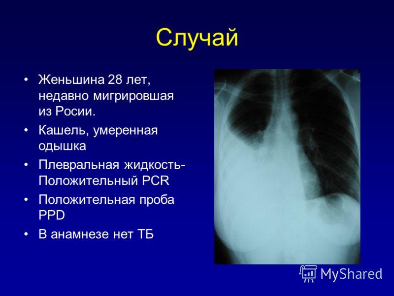Случай Женьшина 28 лет, недавно мигрировшая из Росии. Кашель, умеренная одышка Плевральная жидкость- Положительный PCR Положительная проба PPD В анамнезе нет TБ