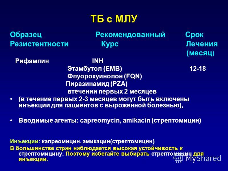 ТБ с МЛУ Образец Рекомендованный Срок РезистентностиКурс Лечения (месяц ) Рифампин INH Этамбутол (EMB) 12-18 Флуoрокуинолон (FQN) Пиразинамид (PZA) втечении первых 2 месяцев (в течение первых 2-3 месяцев могут быть включены инъекции для пациентов с в