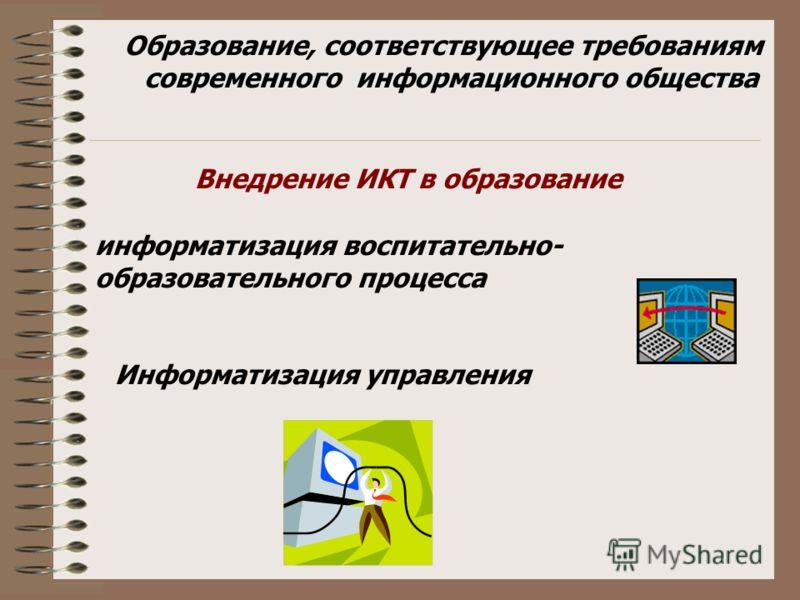 информатизация воспитательно- образовательного процесса Информатизация управления Образование, соответствующее требованиям современного информационного общества Внедрение ИКТ в образование