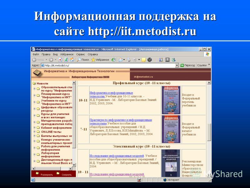 Информационная поддержка на сайте http://iit.metodist.ru