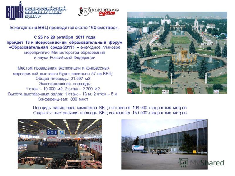 Ежегодно на ВВЦ проводится около 160 выставок. Ежегодно на ВВЦ проводится около 160 выставок. Площадь павильонов комплекса ВВЦ составляет 108 000 квадратных метров Открытая выставочная площадь ВВЦ составляет 150 000 квадратных метров С 25 по 28 октяб