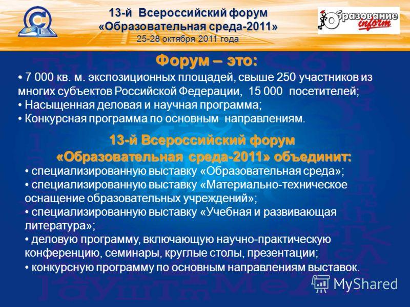 Форум – это: 7 000 кв. м. экспозиционных площадей, свыше 250 участников из многих субъектов Российской Федерации, 15 000 посетителей; Насыщенная деловая и научная программа; Конкурсная программа по основным направлениям. 13-й Всероссийский форум «Обр