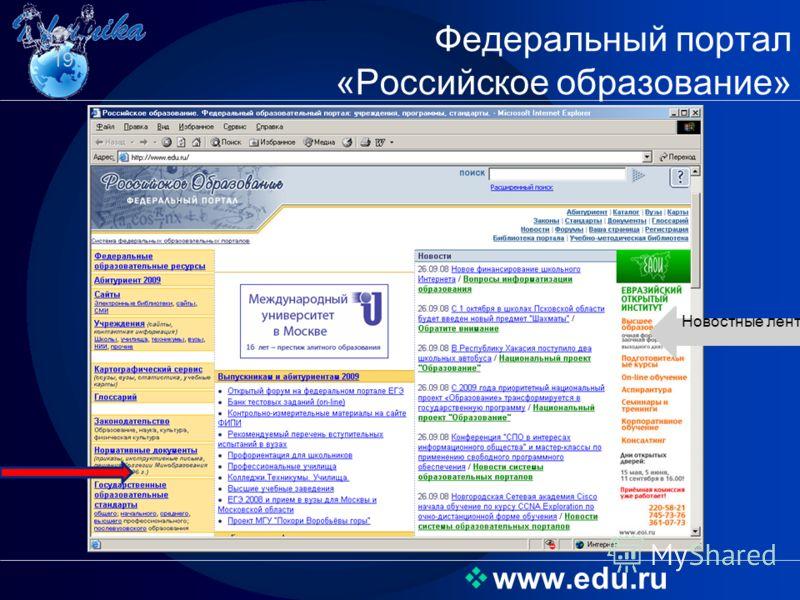 www.edu.ru Федеральный портал «Российское образование» 19 Новостные ленты