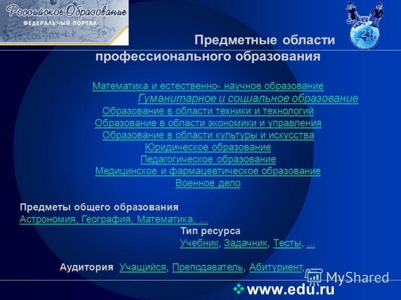Предметные области профессионального образования Математика и естественно- научное образование Гуманитарное и социальное образование Образование в области техники и технологий Образование в области экономики и управления Образование в области культур