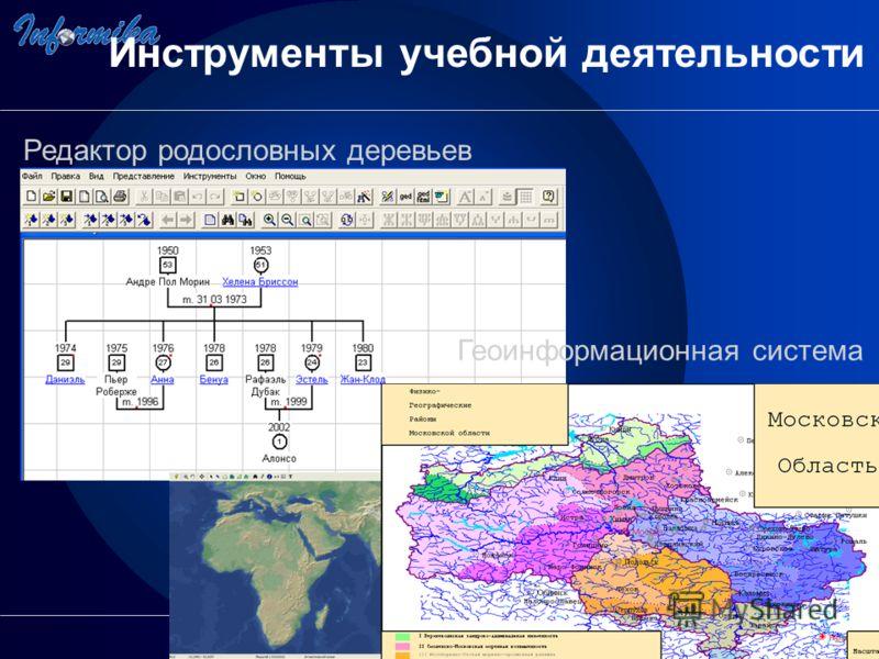 Редактор родословных деревьев Геоинформационная система Инструменты учебной деятельности