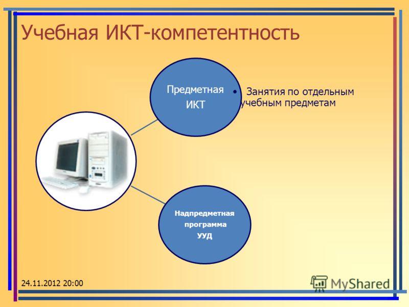 Учебная ИКТ-компетентность Предметная ИКТ Занятия по отдельным учебным предметам Надпредметная программа УУД 24.11.2012 20:02