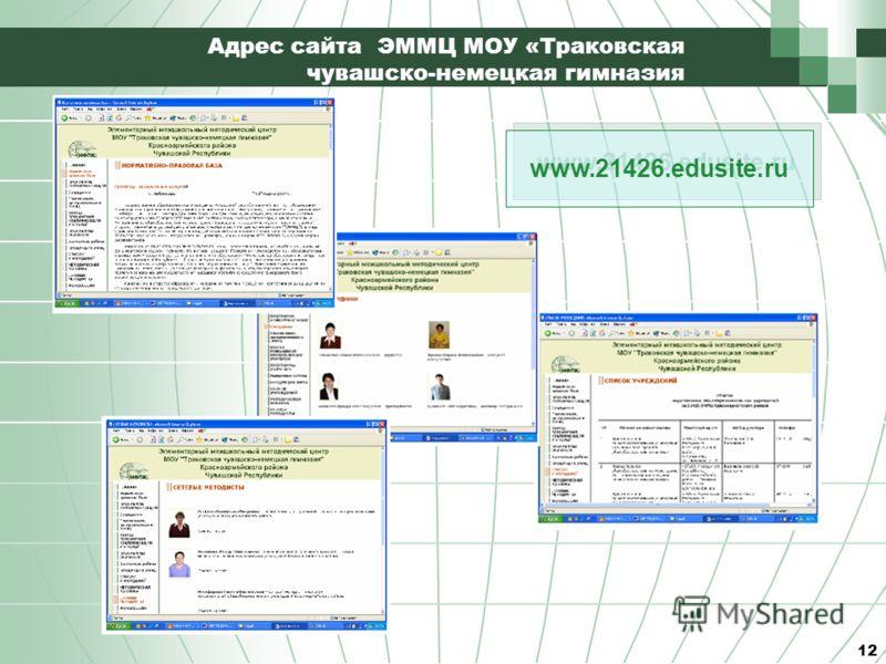 12 Адрес сайта ЭММЦ МОУ «Траковская чувашско-немецкая гимназия www.21426.edusite.ru