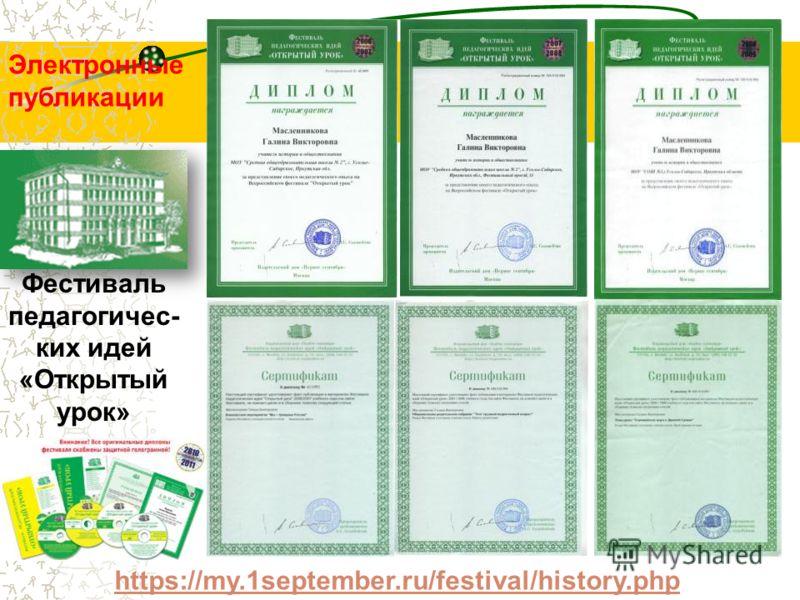 https://my.1september.ru/festival/history.php Фестиваль педагогичес- ких идей «Открытый урок» Электронные публикации