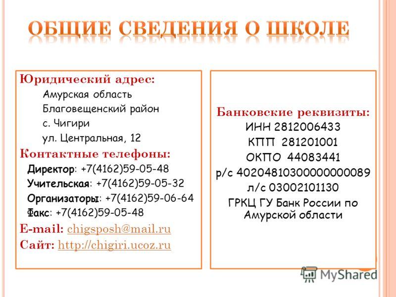 Юридический адрес: Амурская область Благовещенский район с. Чигири ул. Центральная, 12 Контактные телефоны: Директор: +7(4162)59-05-48 Учительская: +7(4162)59-05-32 Организаторы: +7(4162)59-06-64 Факс: +7(4162)59-05-48 E-mail: chigsposh@mail.ruchigsp