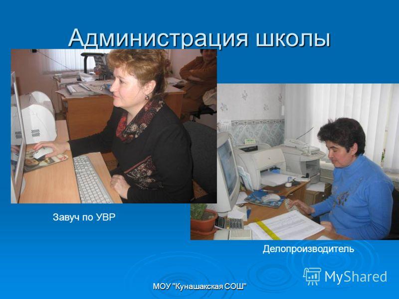МОУ Кунашакская СОШ Администрация школы Завуч по УВР Делопроизводитель