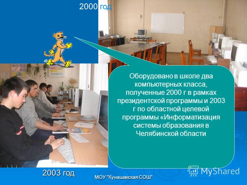 МОУ Кунашакская СОШ 2003 год Оборудовано в школе два компьютерных класса, полученные 2000 г в рамках президентской программы и 2003 г по областной целевой программы «Информатизация системы образования в Челябинской области 2000 год