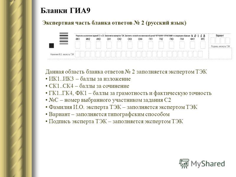 Бланки ГИА9 Экспертная часть бланка ответов 2 (русский язык) Данная область бланка ответов 2 заполняется экспертом ТЭК ИК1..ИК3 – баллы за изложение СК1..СК4 – баллы за сочинение ГК1..ГК4, ФК1 – баллы за грамотность и фактическую точность С – номер в