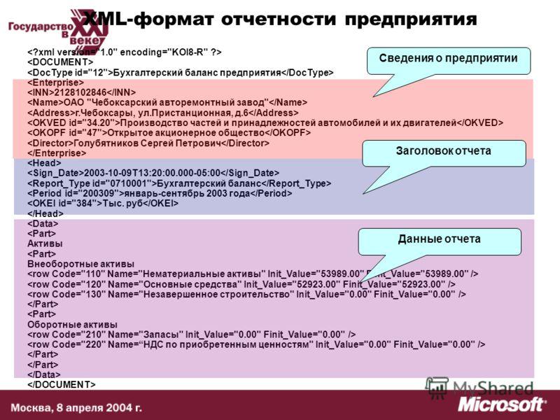XML-формат отчетности предприятия Бухгалтерский баланс предприятия 2128102846 ОАО