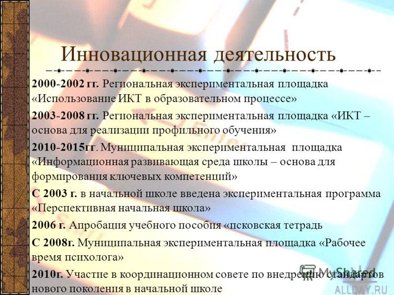Инновационная деятельность 2000-2002 гг. Региональная экспериментальная площадка «Использование ИКТ в образовательном процессе» 2003-2008 гг. Региональная экспериментальная площадка «ИКТ – основа для реализации профильного обучения» 2010-2015гг. Муни