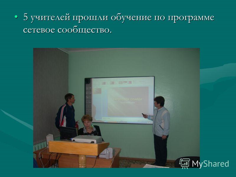 5 учителей прошли обучение по программе сетевое сообщество.5 учителей прошли обучение по программе сетевое сообщество.