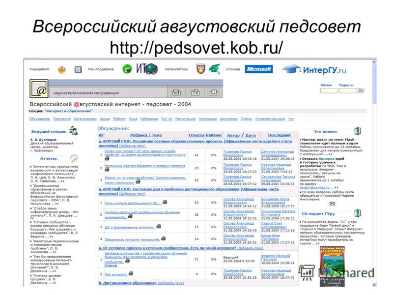 Всероссийский августовский педсовет http://pedsovet.kob.ru/