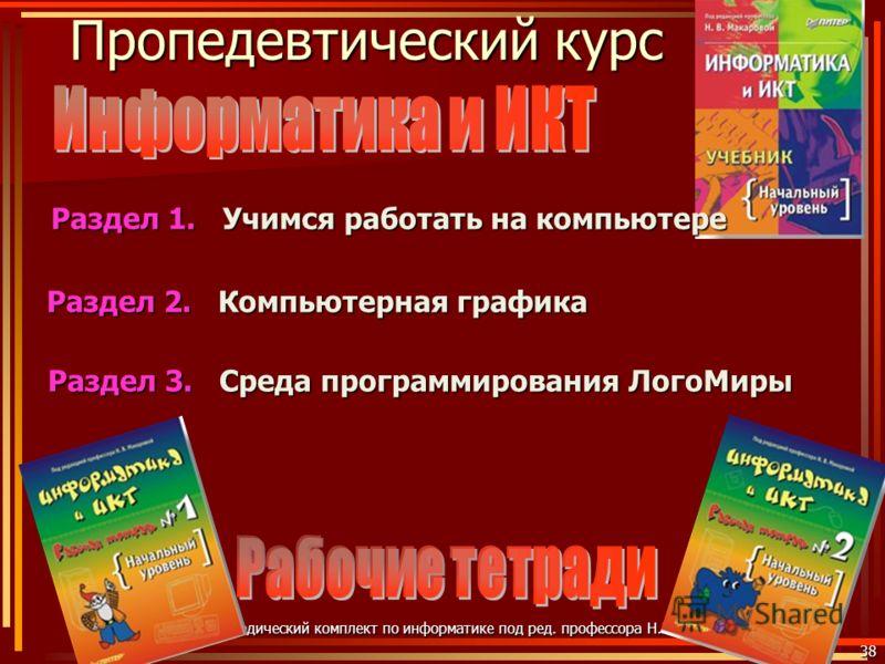 Пропедевтический курс 38 Учебно-методический комплект по информатике под ред. профессора Н.В. Макаровой Раздел 3. Среда программирования ЛогоМиры Учимся работать на компьютере Раздел 1. Компьютерная графика Раздел 2.
