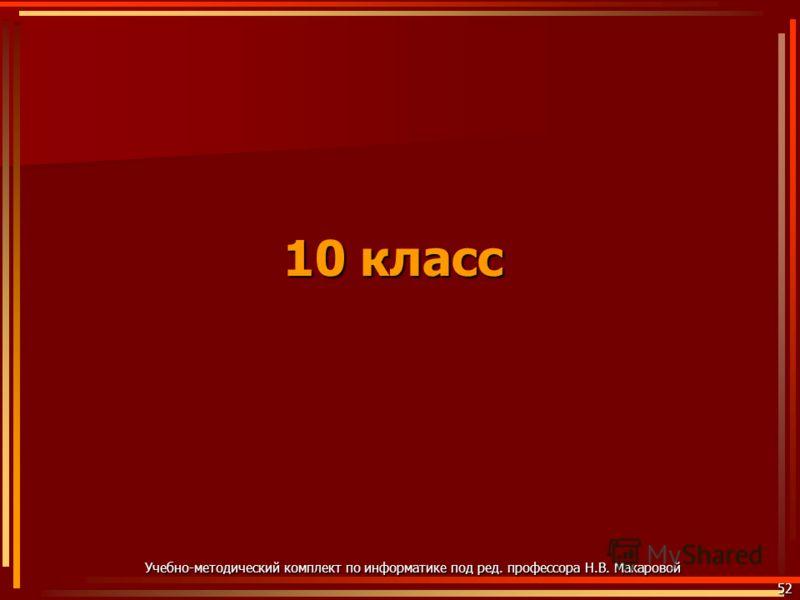 10 класс 52 Учебно-методический комплект по информатике под ред. профессора Н.В. Макаровой