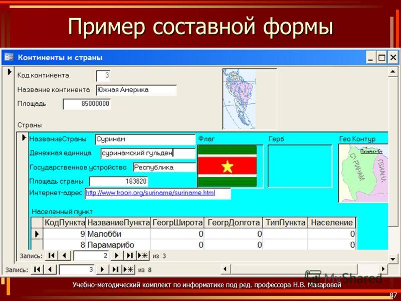 Пример составной формы 87 Учебно-методический комплект по информатике под ред. профессора Н.В. Макаровой